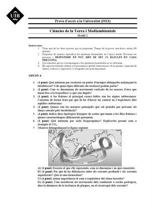 Examen de Selectividad: Ciencias de la Tierra. Islas Baleares. Convocatoria Septiembre 2013