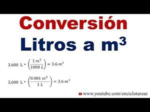 Convertir de Litros a Metros cúbicos (L a m³)