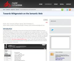 Towards Wittgenstein on the Semantic Web | Digital Humanities 2012