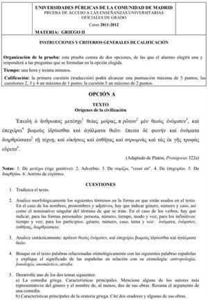Examen de Selectividad: Griego. Comunidad de Madrid. Convocatoria Junio 2012