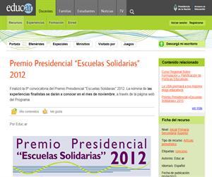 """Premio Presidencial """"Escuelas Solidarias"""" 2012."""