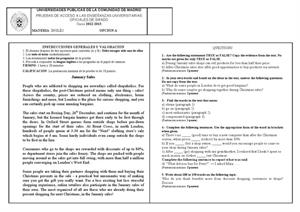 Examen de Selectividad: Inglés. Madrid. Convocatoria Junio 2013