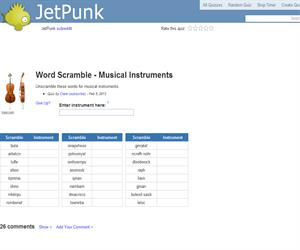 Word Scramble - Musical Instruments