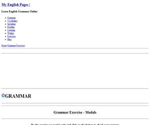 Grammar Exercise - Modals (myenglishpages)