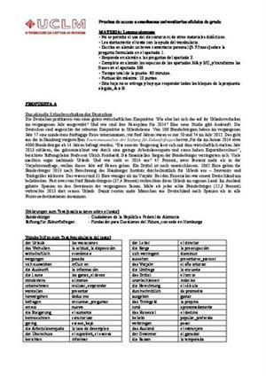Examen de Selectividad: Alemán. Castilla-La Mancha. Convocatoria Junio 2014