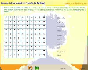 Sopa de Letras Infantil en Francés: La Navidad (Cuadernalia)