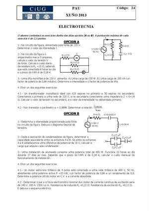 Examen de Selectividad: Electrotecnia. Galicia. Convocatoria Junio 2013