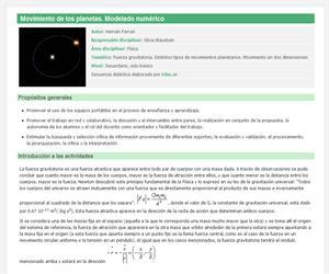 Movimiento de los planetas. Modelado numérico