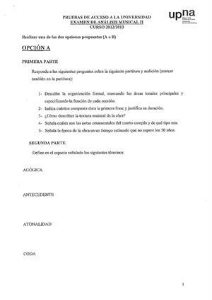 Examen de Selectividad: Análisis musical. Navarra. Convocatoria Junio 2013