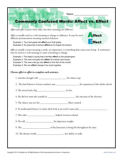 Commonly Confused Words Worksheet: Affect vs. Effect