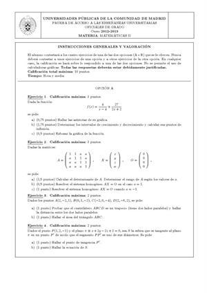 Examen de Selectividad: Matemáticas II. Madrid. Convocatoria Septiembre 2013