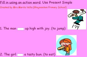 Present simple with action verbs (englishexercises.org)