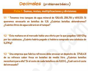 Decimales (problemas básico) - Ficha para imprimir