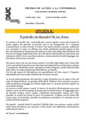 Examen de Selectividad: Italiano. Canarias. Convocatoria Junio 2013