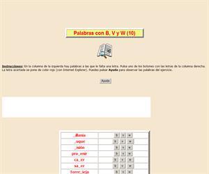 Palabras con B, V y W (X), ortografía interactiva
