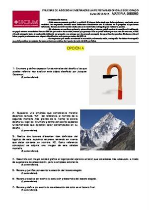 Examen de Selectividad: Diseño. Castilla-La Mancha. Convocatoria Junio 2014