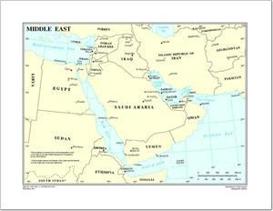 Mapa de países y capitales de Oriente Medio. Naciones Unidas