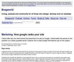"""""""How Google Ranks Your Site"""",  artículo de Paul Boag en su blog Boagworld"""