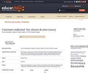Cancionero tradicional: Soy chorero de amor -cueca- (Educarchile)