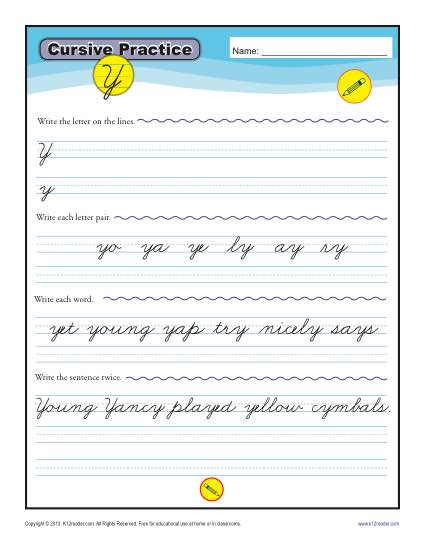 Cursive Y – Letter Y Worksheet