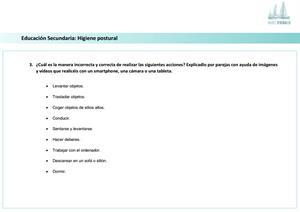 Ficha de actividades sobre la Higiene Postural