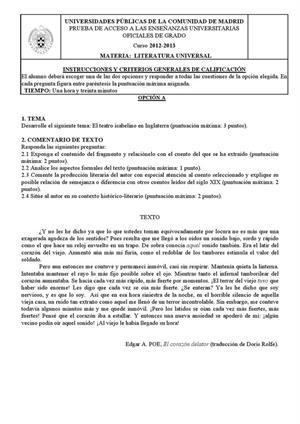 Examen de Selectividad: Literatura universal. Madrid. Convocatoria Septiembre 2013