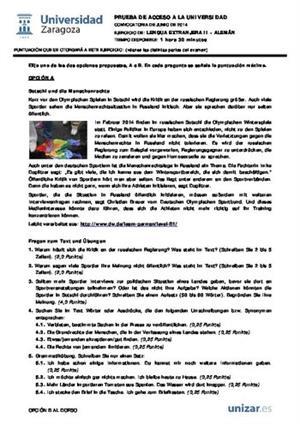 Examen de Selectividad: Alemán. Aragón. Convocatoria Junio 2014