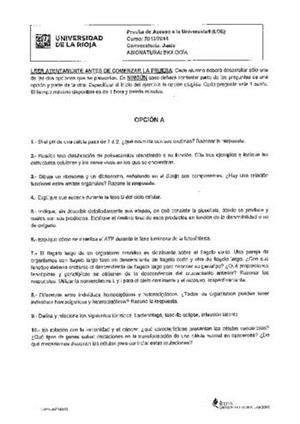 Examen de Selectividad: Biología. La Rioja. Convocatoria Junio 2014