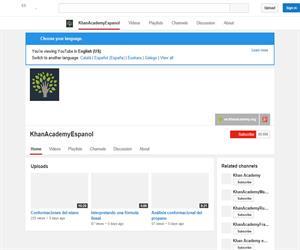 Canal de Khan Academy en Español,  vídeos educativos de ciencias y matemáticas