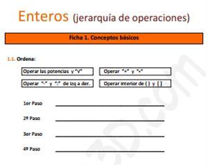 Enteros (jerarquía de operaciones) - Ficha de ejercicios
