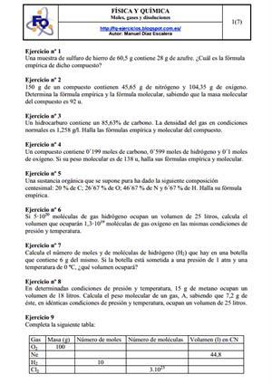 Moles, gases y disoluciones. Manuel Díaz Escalera