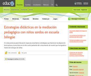 Estrategias didácticas en la mediación pedagógica con niños sordos en escuela bilingüe