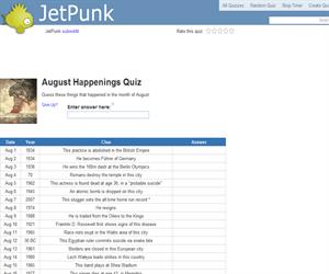 August Happenings Quiz