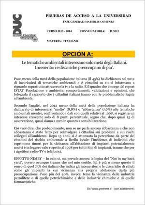 Examen de Selectividad: Italiano. Comunidad Canaria. Convocatoria Junio 2014