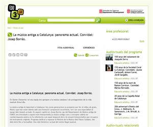 La música antiga a Catalunya: panorama actual. Convidat: Josep Borràs. (Edu3.cat)