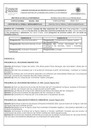Examen de Selectividad: Ciencias de la Tierra. Comunidad Valenciana. Convocatoria Julio 2013