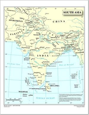 Mapa de países y capitales del sur de Asia. Naciones Unidas