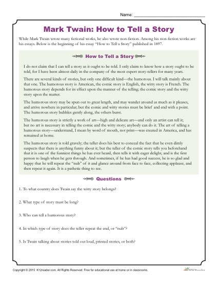 Mark Twain: How to Tell a Story