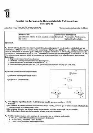 Examen de Selectividad: Tecnología industrial. Extremadura. Convocatoria Junio 2013