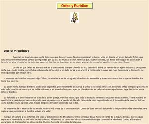 Orfeo y Eurídice, lectura comprensiva interactiva