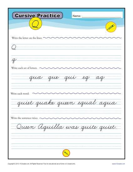 Cursive Q – Letter Q Worksheet