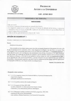 Examen de Selectividad: Historia de España. Cantabria. Convocatoria Junio 2013