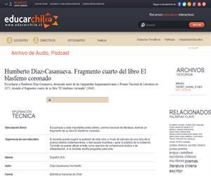 Humberto Díaz-Casanueva. Fragmento cuarto del libro El blasfemo coronado (Educarchile)