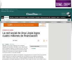 La red social de Ana Llopis logra cuatro millones de financiación (cincodias.com)