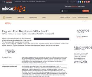 Preguntas Foro Bicentenario 2006 - Panel 1 (Educarchile)