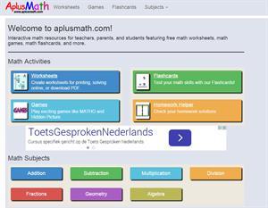 Aplusmath.com. Generador de ejercicios de sumas, restas, multiplicaciones y divisiones