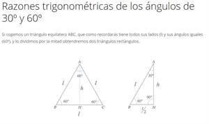 Razones trigonométricas de los ángulos de 30º y 60º