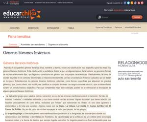 Géneros literarios históricos (Educarchile)