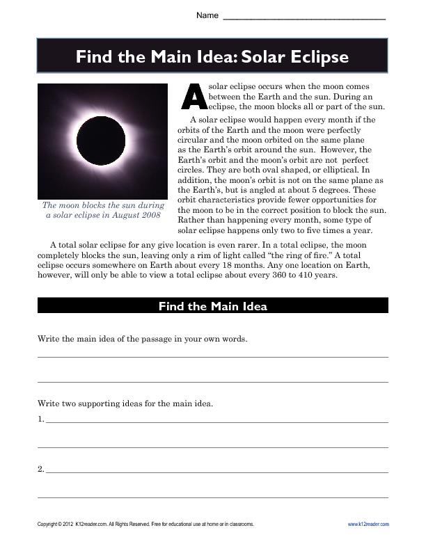 Find the Main Idea: Solar Eclipses