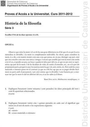 Examen de Selectividad: Historia de la Filosofía. Cataluña. Convocatoria Junio 2012